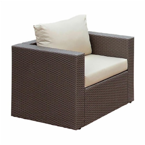 Furniture of America Gin Wicker Patio Arm Chair in Brown and Beige Perspective: front