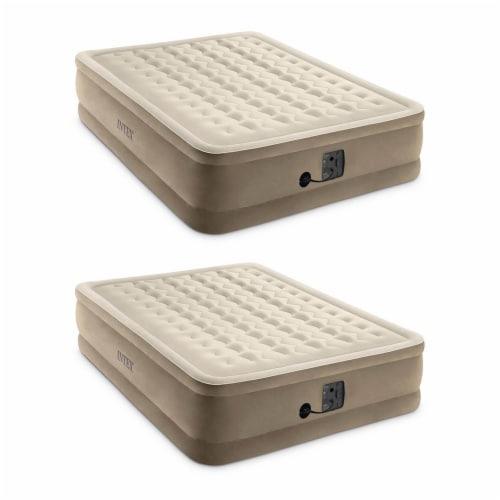 Intex Ultra Plush Fiber Tech Air Mattress Bed with Built In Pump, Queen (2 Pack) Perspective: front