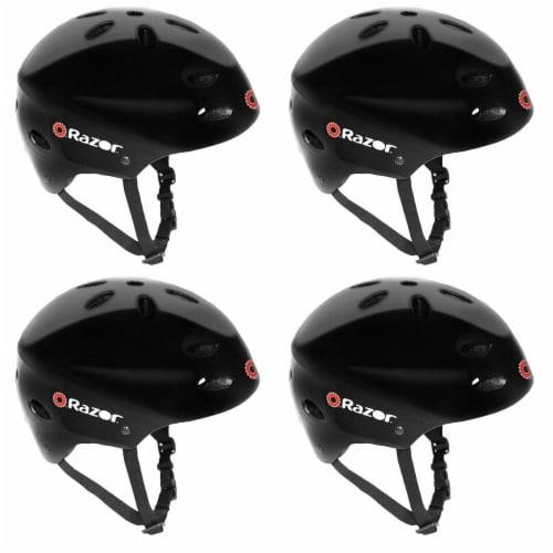Razor V17 Kids Outdoor Bike/Scooter/Skateboard Helmet, Glossy Black (4 Pack) Perspective: front