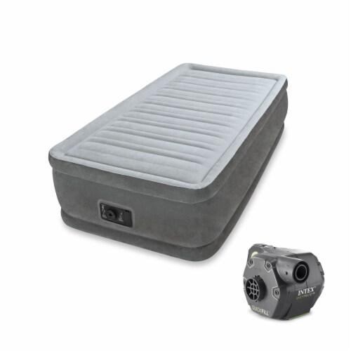 Intex Dura Beam Elevated Air Mattress w/ Built In Pump, Twin & Cordless Pump Perspective: front