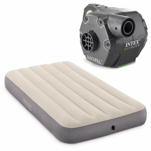 Intex Twin Deluxe Dura Beam Single High Airbed Mattress & Cordless Electric Pump Perspective: front