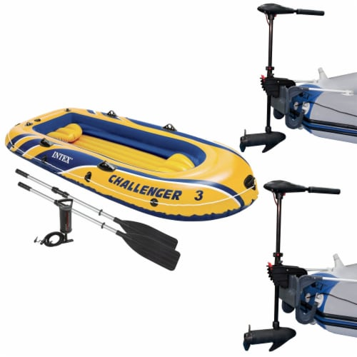 Intex Challenger 3 Inflatable Raft Boat Set & 2 Eight Speed Trolling Motors Perspective: front