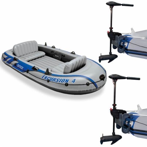 Intex Excursion 4 Inflatable Raft Set w/ 2 Transom Mount 8 Speed Trolling Motors Perspective: front