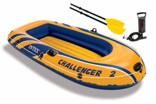 Intex Challenger 2 Inflatable Raft Set & 2 Transom Mount 8 Speed Trolling Motors Perspective: front