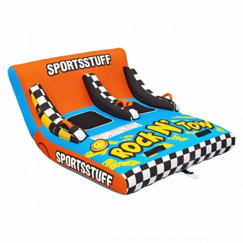 Sportsstuff Inflatable Rock N' Tow 2 Sitting Double Rider Towable Boat Lake Tube Perspective: front
