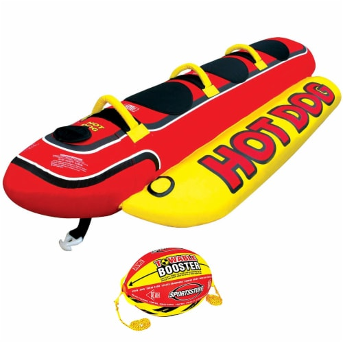 AIRHEAD Hot Dog Towable Inflatable 3 Person Tube & 4K Booster Ball Towing System Perspective: front