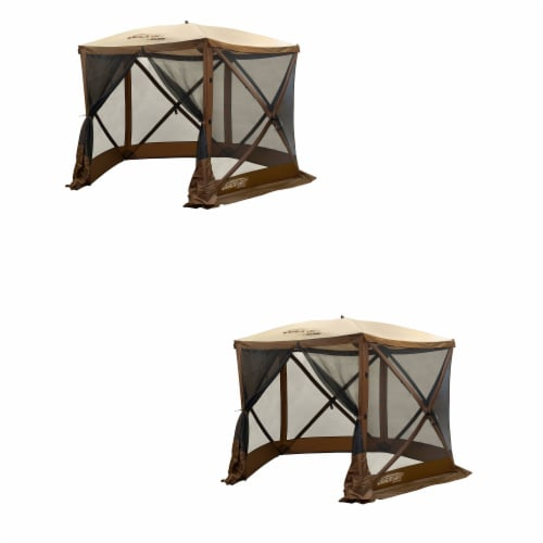 Clam QuickSet Venture Portable Outdoor Gazebo Canopy Shelter, Brown (2 Pack) Perspective: front