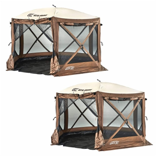 Clam Quick-Set Pavilion Camper 10 x 10 Ft 8 Person Outdoor Tent, Brown (2 Pack) Perspective: front