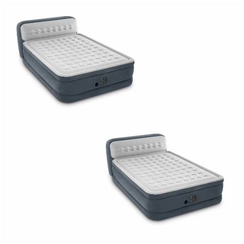 Intex Ultra Plush Deluxe Air Mattress with Pump & Headboard, Queen (2 Pack) Perspective: front