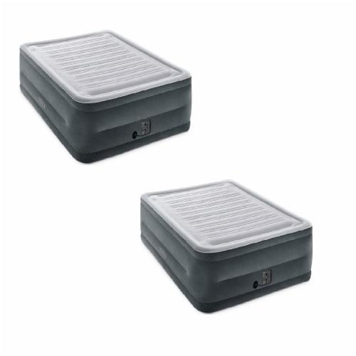 Intex Comfort High Rise Dura Beam Air Mattress w/ Built-In Pump, Queen (2 Pack) Perspective: front