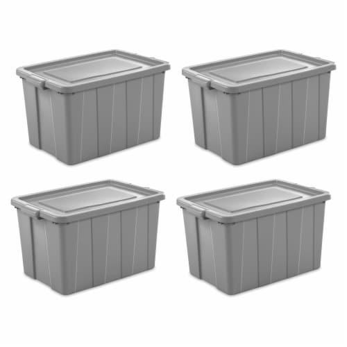 Sterilite Tuff1 30 Gallon Plastic Storage Tote Container Bin w/ Lid (4 Pack) Perspective: front