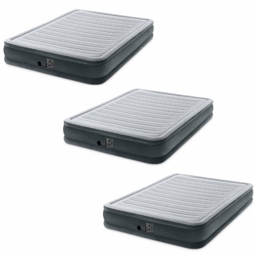Intex Dura Beam Plus Series Mid Rise Queen Air Bed with Built In Pump (3 pack) Perspective: front