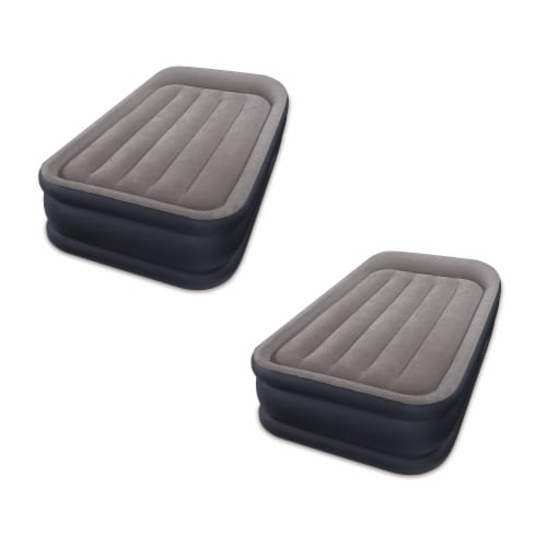 Intex Standard Deluxe Pillow Rest Raised Airbed w/ Built in Pump, Twin (2 Pack) Perspective: front