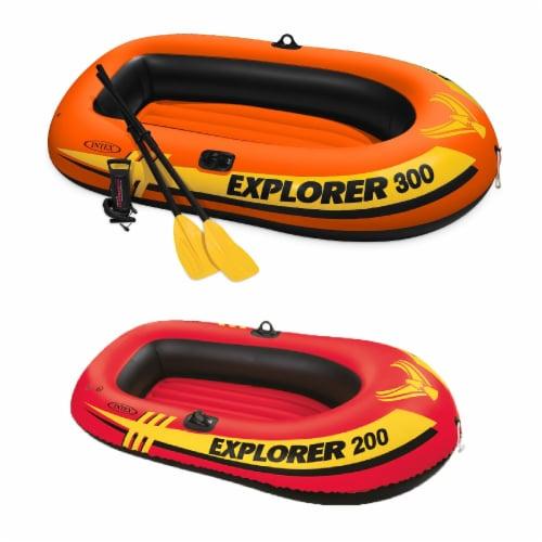 Intex 3 Person Fishing Raft w/ Pump & Oars & 2 Person Raft Set w/ 2 Oars & Pump Perspective: front