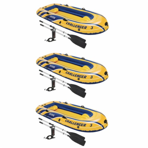 Intex Inflatable Raft Boat Set With Pump And Oars, Yellow (3 Pack) Perspective: front