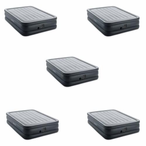 Intex QueenDura Beam Essential Air Mattress w/ Built-in Electric Pump (5 Pack) Perspective: front