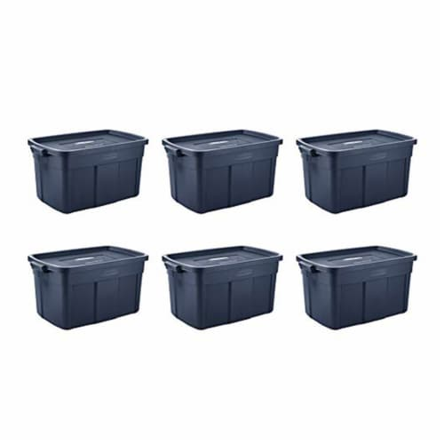 Rubbermaid 31 Gallon Stackable Storage Container, Dark Indigo Metallic (6 Pack) Perspective: front
