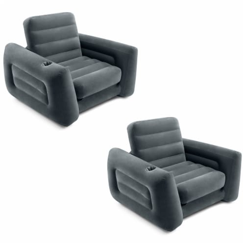 Intex Inflatable Pull Out Sofa Chair Sleeper/Twin Sized Air Mattress (2 Pack) Perspective: front