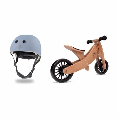 Kinderfeets Slate Blue Toddler Kids Helmet Bundle with Balance Bike Tricycle Perspective: front