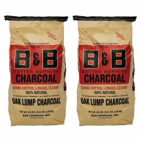 B&B Charcoal Signature Low Smoke Oak Lump Grilling Charcoal, 20 Pounds (2 Pack) Perspective: front