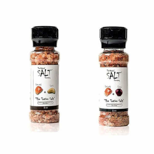 The Original Salt Company 8 Ounce Pink Himalayan Salt Garlic and Onion Grinder Perspective: front
