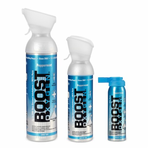 Boost Oxygen Natural Oxygen Canister, Peppermint, 2, 5, and 10 Liter (3 Pack) Perspective: front