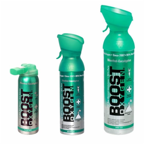 Boost Oxygen Natural Oxygen Canister, Menthol Eucalyptus 2, 5, and 10 L (3 Pack) Perspective: front