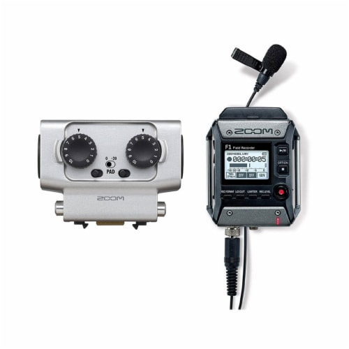 Zoom F1 Digital Sound Recorder with Lavalier Mic and EXH-6 Dual Input Capsule Perspective: front