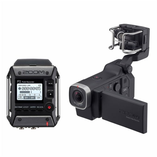 Zoom F1 Digital Audio Recorder with Lavalier Mic & Q8 Video Professional Camera Perspective: front
