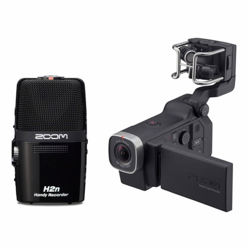 Zoom Q8 Video Professional Camera & H2N Portable 4 Track Digital Audio Recorder Perspective: front