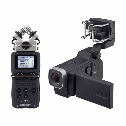 Zoom H5 Portable 4 Track Digital Audio Recorder and Q8 Video Professional Camera Perspective: front
