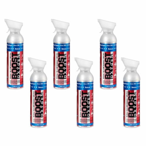6 Pack 10L Boost Oxygen Stars and Stripes Pure Canned Oxygen Canister, Natural Perspective: front