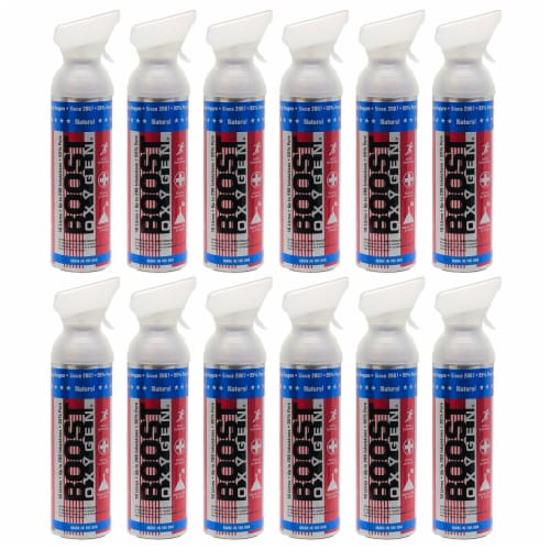 12 Pack 10L Boost Oxygen Stars and Stripes Pure Canned Oxygen Canister, Natural Perspective: front