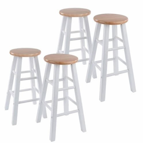 Winsome Element 23.86 Inch Solid Wood Counter Bar Stool Set, White (4 Pack) Perspective: front