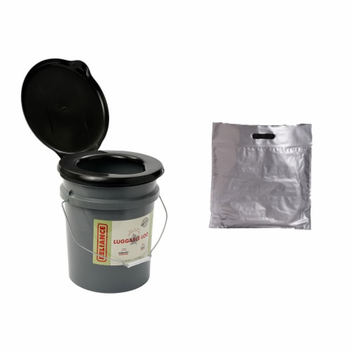 Reliance Products Portable 5 Gallon Toilet with Large Capacity Toilet Waste Bags Perspective: front
