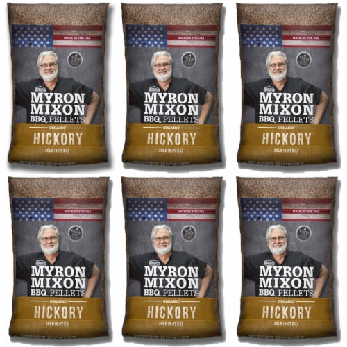 Myron Mixon Smokers Wood BBQ Pellets for Smoking & Grilling, Hickory (6 Pack) Perspective: front