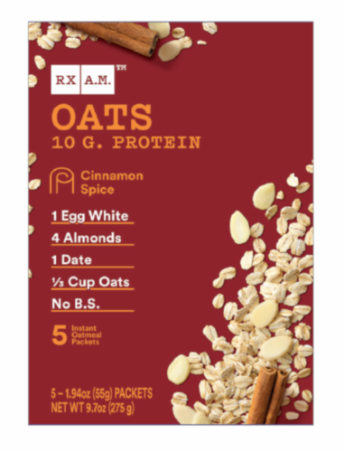 RX A.M. Oats Cinnamon Spice Oatmeal Packets Perspective: front