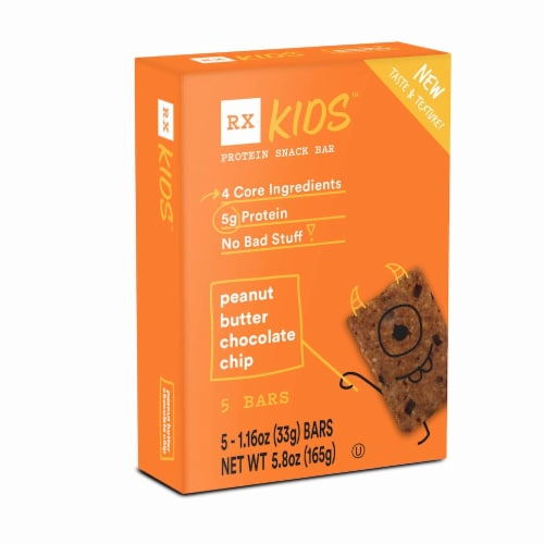 RXBAR Kids Peanut Butter Chocolate Chip Protein Snack Bars 5 Count Perspective: front