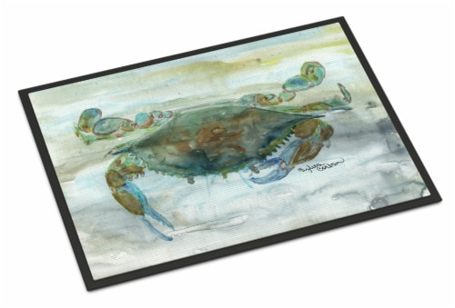 Crab a leg up Watercolor Indoor or Outdoor Mat 18x27 Perspective: front