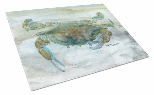 Crab a leg up Watercolor Glass Cutting Board Large Perspective: front