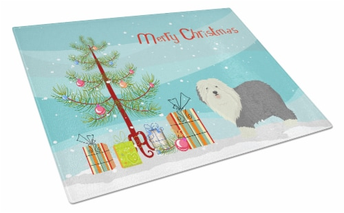 Old English Sheepdog Christmas Tree Glass Cutting Board Large Perspective: front