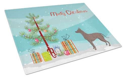 Mexican Hairless Dog Xolo Christmas Tree Glass Cutting Board Large Perspective: front