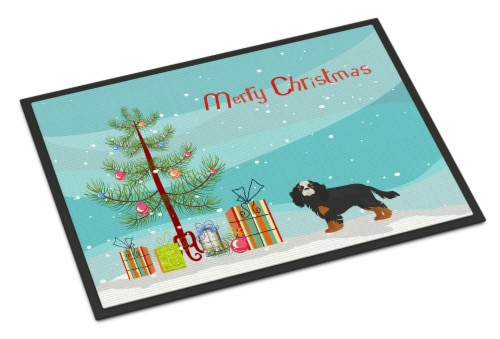 Cavalier King Charles Spaniel Christmas Tree Indoor or Outdoor Mat 18x27 Perspective: front