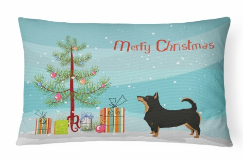 Lancashire Terrier Christmas Tree Canvas Fabric Decorative Pillow Perspective: front