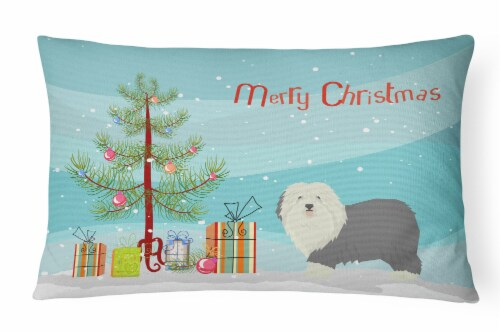 Old English Sheepdog Christmas Tree Canvas Fabric Decorative Pillow Perspective: front