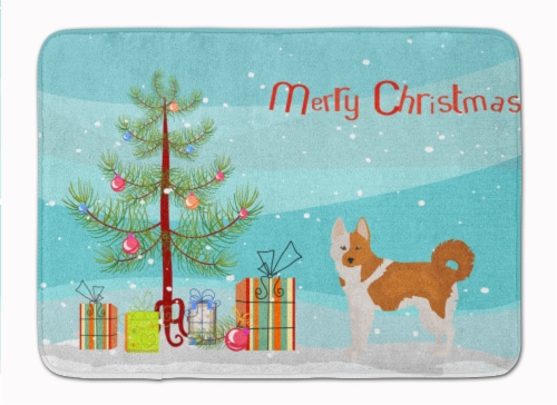Nordic Spitz Christmas Tree Machine Washable Memory Foam Mat Perspective: front