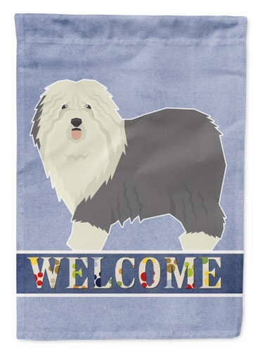 Old English Sheepdog Welcome Flag Canvas House Size Perspective: front