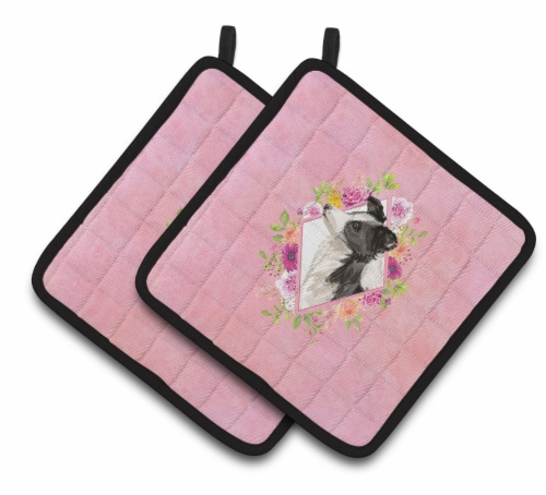 Carolines Treasures  CK4258PTHD Border Collie Pink Flowers Pair of Pot Holders Perspective: front