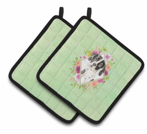 Carolines Treasures  CK4399PTHD English Pointer Green Flowers Pair of Pot Holder Perspective: front