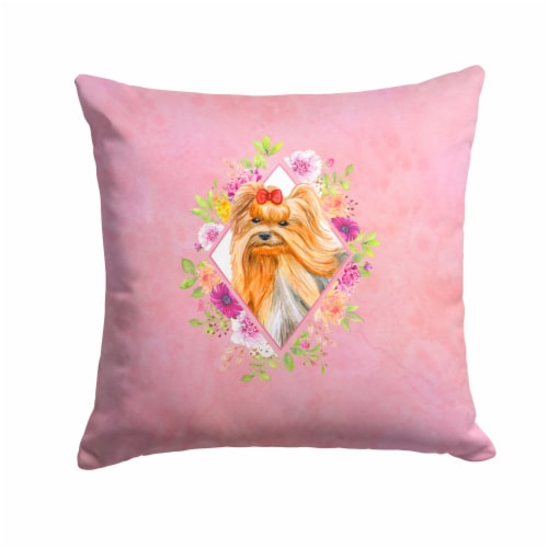 Yorkshire Terrier #2 Pink Flowers Fabric Decorative Pillow Perspective: front